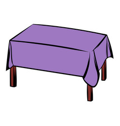 table with tablecloth icon cartoon vector image vector image