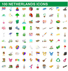 100 netherlands icons set cartoon style vector image vector image
