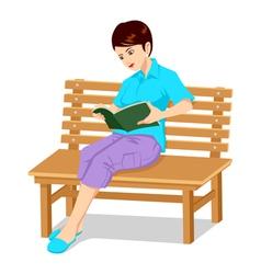 A Girl Reading A Book vector image vector image