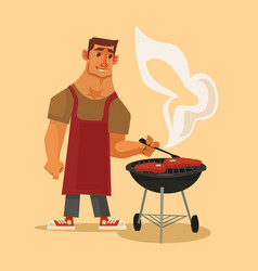bbq party happy smiling man character barbecuing vector image