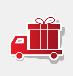 delivery gift sign new year reddish icon vector image