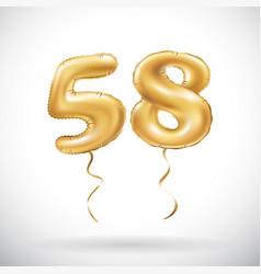 golden number 58 fifty eight metallic balloon vector image vector image