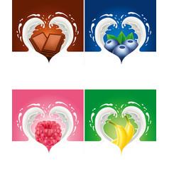 Ilk splash created heart with raspberry blueberry vector