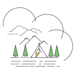 line style landscape mountain with vector image