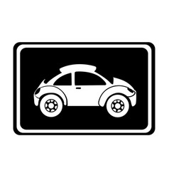 monochrome silhouette with sports car in square vector image