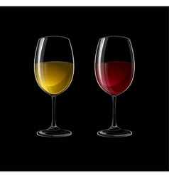 Red and white wine in a glass isolated on black vector image