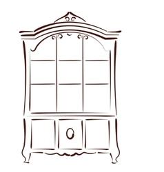 Sketched vintage bookcase vector image vector image