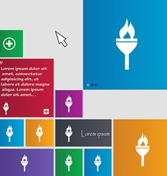 Torch icon sign buttons Modern interface website vector image vector image