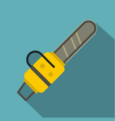 Yellow chainsaw icon flat style vector