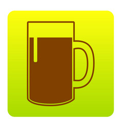 beer glass sign brown icon at green vector image vector image