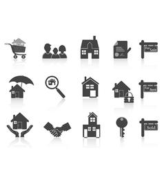 black real estate icon vector image vector image