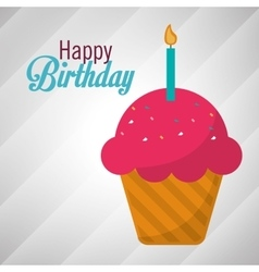 happy birthday pink cupcake candle vector image