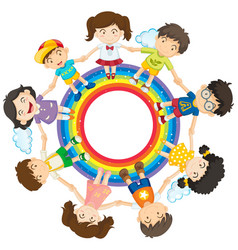 happy children holding hands around rainbow circle vector image