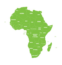 simple flat green map of africa continent with vector image