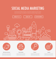 social media marketing landing vector image vector image
