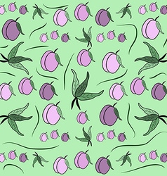 Cherry plum Fruit pattern from plum with leaf card vector image vector image