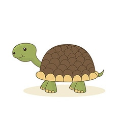 Cute cartoon turtle isolated on white background vector image
