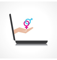 hand holding malefemale symbols comes from laptop vector image vector image