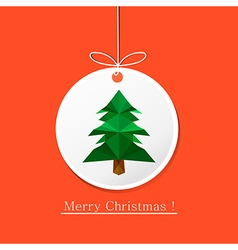 modern flat card with origami pine tree on vector image vector image