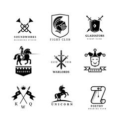 Vintage sword badges and labels or logo set vector image vector image