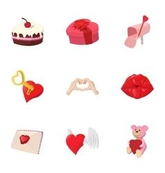14 February icons set cartoon style vector image