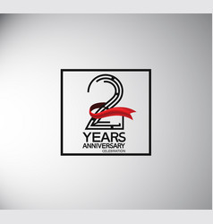2 years anniversary logotype flat style vector