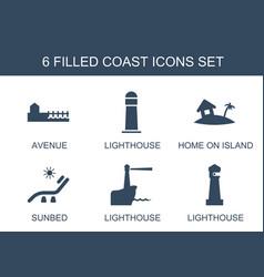 6 coast icons vector image
