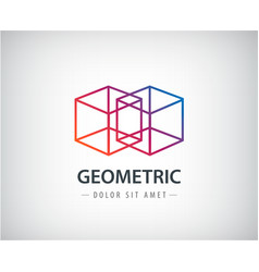 Abstract geometric linear logo two cubes vector