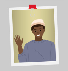 Afro american man is waving his hand male vector