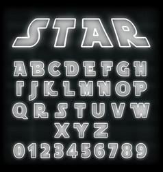 alphabet font template white neon line design vector image
