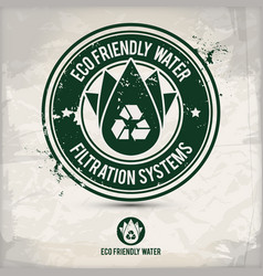 alternative eco friendly water stamp vector image