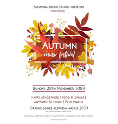 Autumn season party festival invite poster banner vector