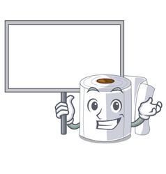 Bring board cartoon toilet paper in bathroom vector