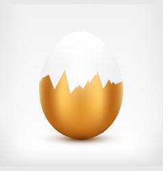 broken golden egg vector image