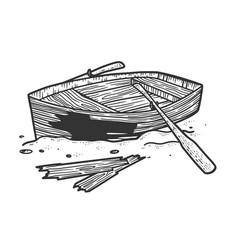 broken wooden boat sketch vector image