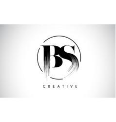 Bs brush stroke letter logo design black paint vector