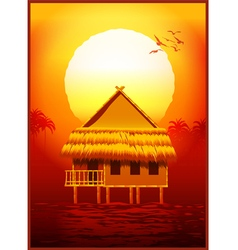 bungalow at sunset vector image