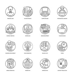 Business and data management line icons vector