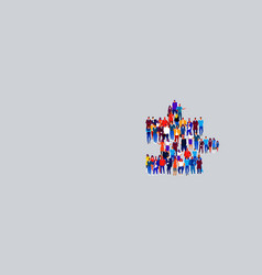 businesspeople crowd gathering in shape puzzle vector image