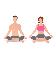 Calm woman and man are doing yoga and meditation vector