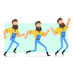 cartoon bearded lumberjack character set vector image