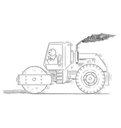cartoon of tired man driving or working with road vector image