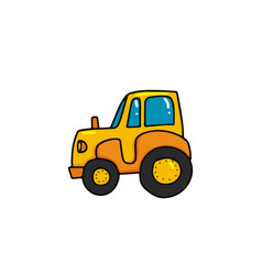 cartoon tractor icon vector image
