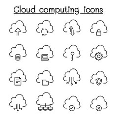 cloud computing icon set in thin line style vector image