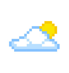 Cloud sun pixel art cartoon retro game style vector