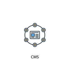 Cms concept 2 colored line icon simple yellow and vector