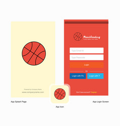 Company basket ball splash screen and login page vector