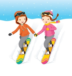 Couple Snowboarding vector image