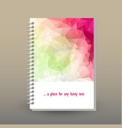 Cover of diary spring pink magenta green polygonal vector