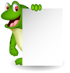 cute frog cartoon with blank sign vector image